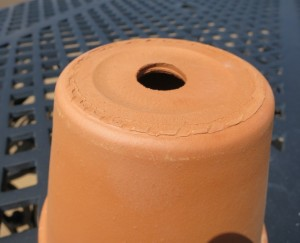 A properly sized drainage hole in a clay pot.